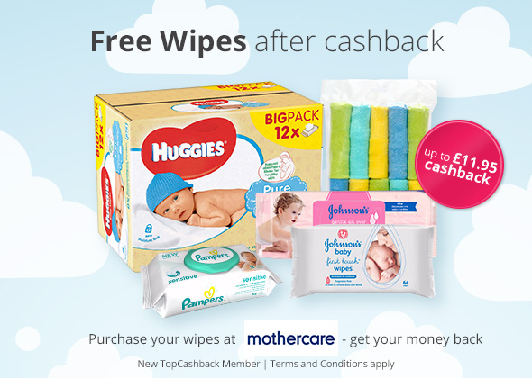 Free Wipes at Mothercare after Cashback